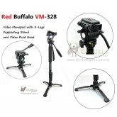 Red Buffalo VM-328 Video Monopod with 3-Legs Supporting Stand and Video Fluid Head