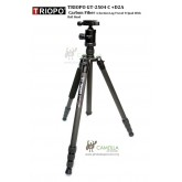 Triopo GT-2504X8.C+D2A Adjustable Portable Carbon Fiber Tripod with D2A Aluminum Ball Head for DSLR Camera(Black)