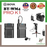 BOYA BY-WM4 PRO K1 UNIVERSAL LAVALIER WIRELESS MICROPHONE FOR CAMERA NIKON/SONY/CANON/SMARTPHONE