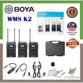 BOYA BY-WM8 Pro-K2 UHF Dual-Channel Wireless Lavalier System for DSLR Canon Nikon (576.4 to 599.9 MHz, 568.6 to 592 MHz)