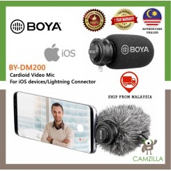 BOYA BY-DM200 Digital Stereo Condenser Shotgun Microphone with Lightning Input for iOs iPhone iPad iPod Touch Microphone