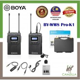 BOYA by-WM8 Pro-K1 UHF Wireless Microphone System 48 Channels Mono/Stereo Mode LCD Display 100M Effective Range for Canon Nikon Sony DSLR Cameras Camcorders