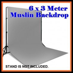 Camzilla 6x3 Meter Photography Muslin Photo Double Backdrop Background - Grey