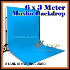 Camzilla 6x3 Meter Photography Muslin Photo Double Backdrop Background - Sky Blue