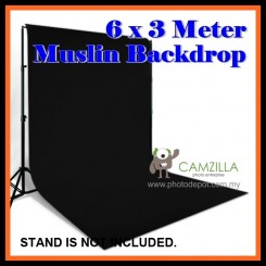 Camzilla 6x3 Meter Photography Muslin Photo Double Backdrop Background - Solid Black