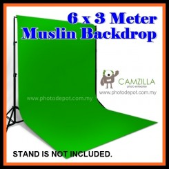 Camzilla 6x3 Meter Photography Muslin Photo Double Backdrop Background - Solid Green