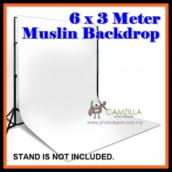 Camzilla 6x3 Meter Photography Muslin Photo Double Backdrop Background - White