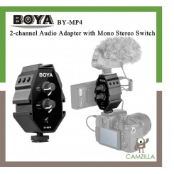 BOYA BY-MP4 2-channel Audio Adapter with Mono Stereo Switch for Canon Nikon Sony Panasonic DSLR Camera Camcorder for iPhone Samsung Smartphone