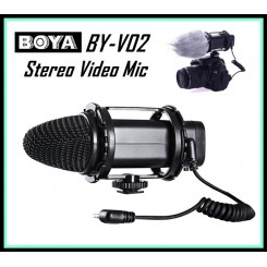 BOYA BY V02 Compact Stereo Video Microphone for Canon Nikon DSLR Cameras Camcorders