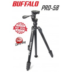 Buffalo Pro 58 Professional Video and Photo Tripod for Camera DSLR - Free Carry Bag