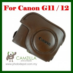 Leather Case Bag For Canon Powershot G11 G12 - Brown