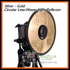 "Camzilla 12"" Silver / Gold 2in1 Circular Lens-Mount Light Reflector"