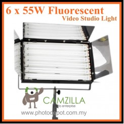 CAMZILLA-655A : 6 x 55W Fluorescent Video Studio Light with Heavy Duty Light Stands