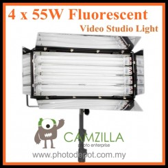 CAMZILLA-455A : 4 x 55W Fluorescent Video Studio Light with Heavy Duty Light Stands