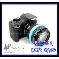 PHOTOGRAPHY Logo Silicone SKY BLUE Rubber Lens Band , Flash Band , Wrist Band