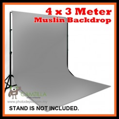 Camzilla 4x3 Meter Photography Muslin Photo Double Backdrop Background - Grey