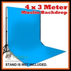 Camzilla 4x3 Meter Photography Muslin Photo Double Backdrop Background - Sky Blue