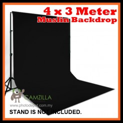 Camzilla 4x3 Meter Photography Muslin Photo Double Backdrop Background - Solid Black