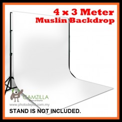 Camzilla 4x3 Meter Photography Muslin Photo Double Backdrop Background - White