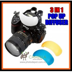 3in1 Pop-up (Built-in) Flash Diffuser for Nikon, Canon, Sony, Samsung, Pentax, Olympus, Panasonic DSLR