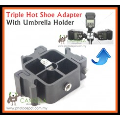 Camzilla Triple 3 Head Hot Shoe Mount 3-in-1 Adapter Speedlite Flash Light Holder Bracket