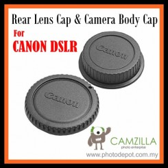 Rear Lens Cap & Camera Body Cap for Canon 1000D 1100D 450D 500D 550D DSLR