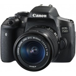 Canon EOS 750D (Black) Digital SLR Camera + KIT EF-M18-55mm f/3.5-5.6 IS STM