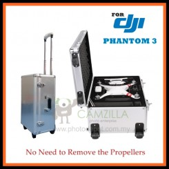 Aluminum Hard Shell Luggage Suitcases Hard Bag Trolley Case for DJI Phantom 3 (No Need to Remove the Propellers)