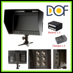"F&V DOF F1 7"" HDMI LCD On Camera Monitor with Sun Shade - With Battery & Charger"