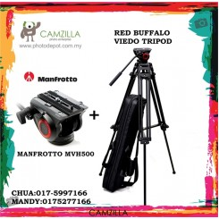 ORI MANFROTTO 500MVH VIDEO HEAD WITH BUFFALO VIDEO TRIPOD