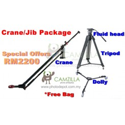 Dasky Jib - 9116(Blue) 8ft Camera Crane + Tripod + Fluid head + Dolly - Free Bag