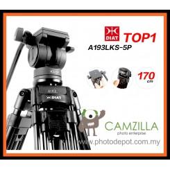 DIAT A193LKS-5P Professional Heavy Duty Video Camcorder 170CM Tripod + Fluid Video Head Kit