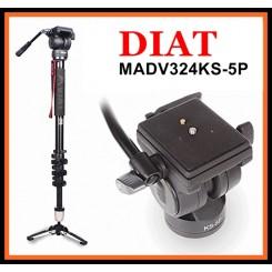 DIAT MADV324KS-5P Video Aluminum Magnesium Alloy + Fluid Head Monopod With Bag