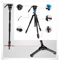 Diat TA253AKS-5P Professional Fluid Head Photo Video Tripod / Monopod