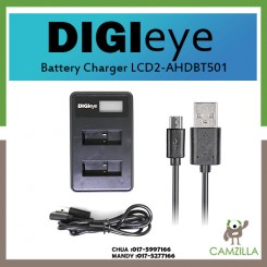 DigiEye LCD Dual Slim Charger for GoPro HERO5, Hero 5 Black, Gopro5 and GoPro AHDBT-501, AHBBP-501 Sport Camera LCD2-AHDBT-501