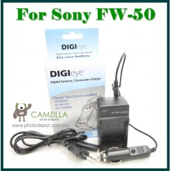 DigiEye Compatible FW-50 Battery Charger for SONY NEX-5 NEX-3 NEX-3C NEX-5C with CAR CHARGER