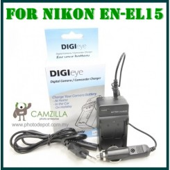 DigiEye Compatible EN-EL15 enel15 Battery Charger for D7000 with CAR CHARGER