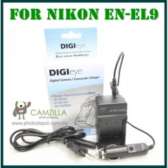 DigiEye Compatible EN-EL9 enel9 Battery Charger for D5000 D3000 D40 D60 with CAR CHARGER