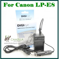 DigiEye Compatible LP-E8 Battery Charger for Canon LPE8 550D 600D 650D with CAR CHARGER