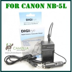 DigiEye Compatible NB-5L NB5L Battery Charger for Canon with CAR CHARGER
