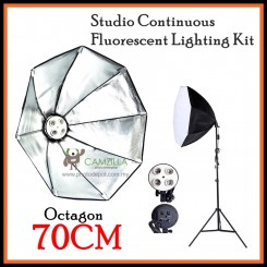 DigiFox Studio Continuous Octa Lighting Kit With 4 (E27 Lamp) Bulb Socket +70cm Softbox + Light Stand