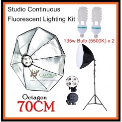 DigiFox Studio Continuous Octa Lighting Kit With 2 x E27 Bulb With Bulb Socket +70cm Softbox + Light Stand