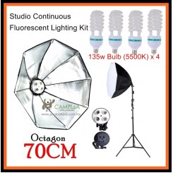 DigiFox Studio Continuous Octa Lighting Kit With 4 x E27 Bulb With Bulb Socket +70cm Softbox + Light Stand