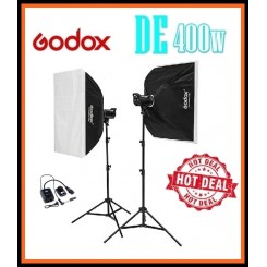 GODOX 2 x DE 400 400w Flash Photography Studio Flash Kit with 70x100cm Softbox