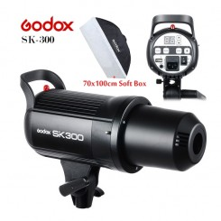 Godox SK300 300WS 300 Smart Photography Strobe Flash Studio Light Head With 70x100CM SoftBox