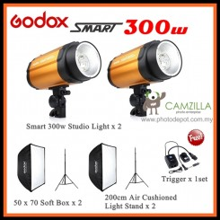 Godox Smart 300W Photography Photo Studio Strobe Flash Lighting (2 Light Set)