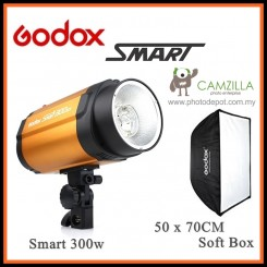 Godox Smart 300W 300 Smart Photography Strobe Flash Studio Light Head With 50x70CM SoftBox