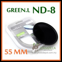 ORIGINAL GREEN.L 55MM Neutral Density ND8 LENS FILTER