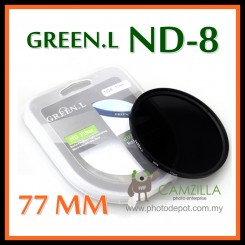 ORIGINAL GREEN.L 77MM Neutral Density ND8 LENS FILTER