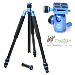 Jusino AX-253 Lightning Blue Professional Traveller Series 3-Sections Tripod (Max Load 12kg) with BT-02 Professional Ballhead with Arca Swiss Quick Release System (QR Plate Included) (Max Load 15kg)